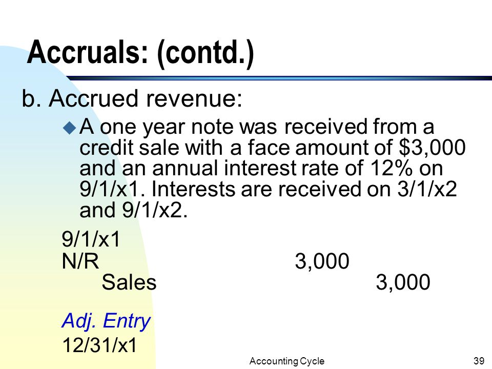 Accruals: (contd.) b. Accrued revenue: