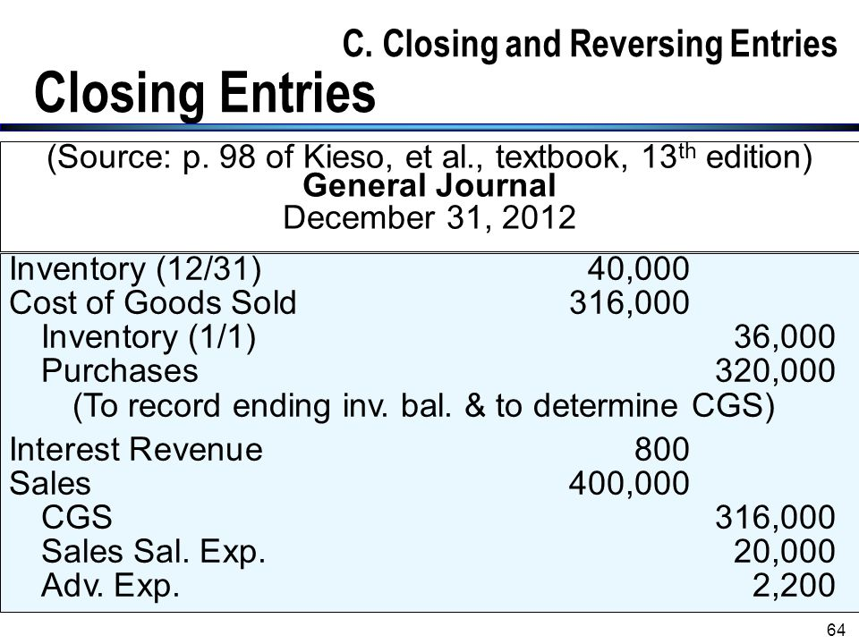 C. Closing and Reversing Entries Closing Entries