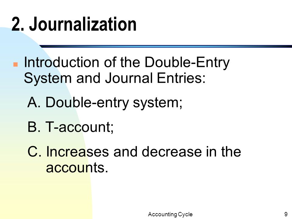 2. Journalization Introduction of the Double-Entry System and Journal Entries: A. Double-entry system;
