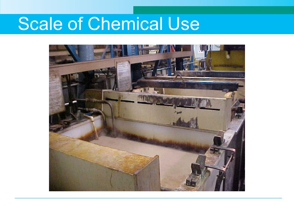 Scale of Chemical Use This picture shows large tanks of chemicals used in a plating process.