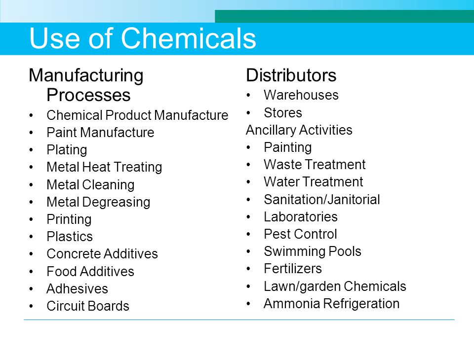 Use of Chemicals Manufacturing Processes Distributors Warehouses
