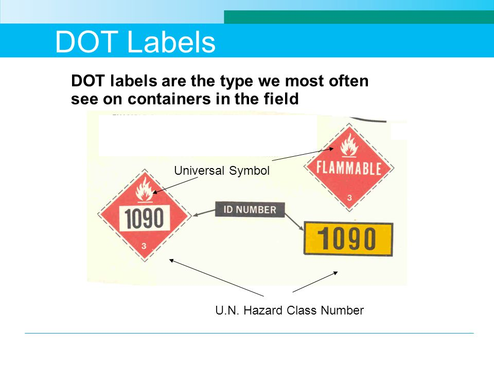 DOT Labels DOT labels are the type we most often see on containers in the field. Universal Symbol.