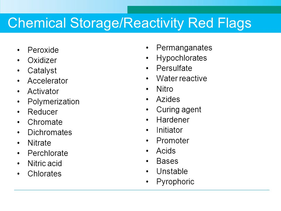 Chemical Storage/Reactivity Red Flags