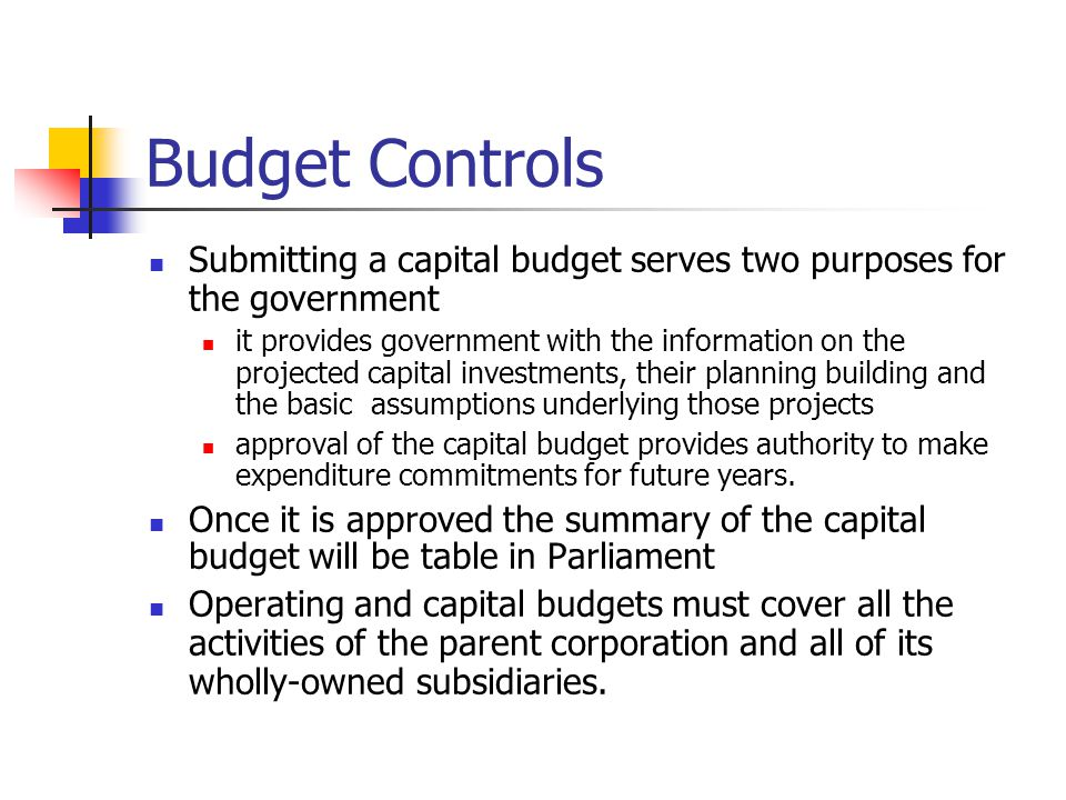 Budget Controls Submitting a capital budget serves two purposes for the government.