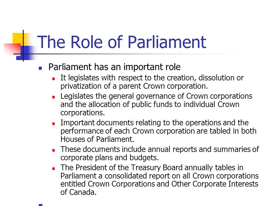 The Role of Parliament Parliament has an important role