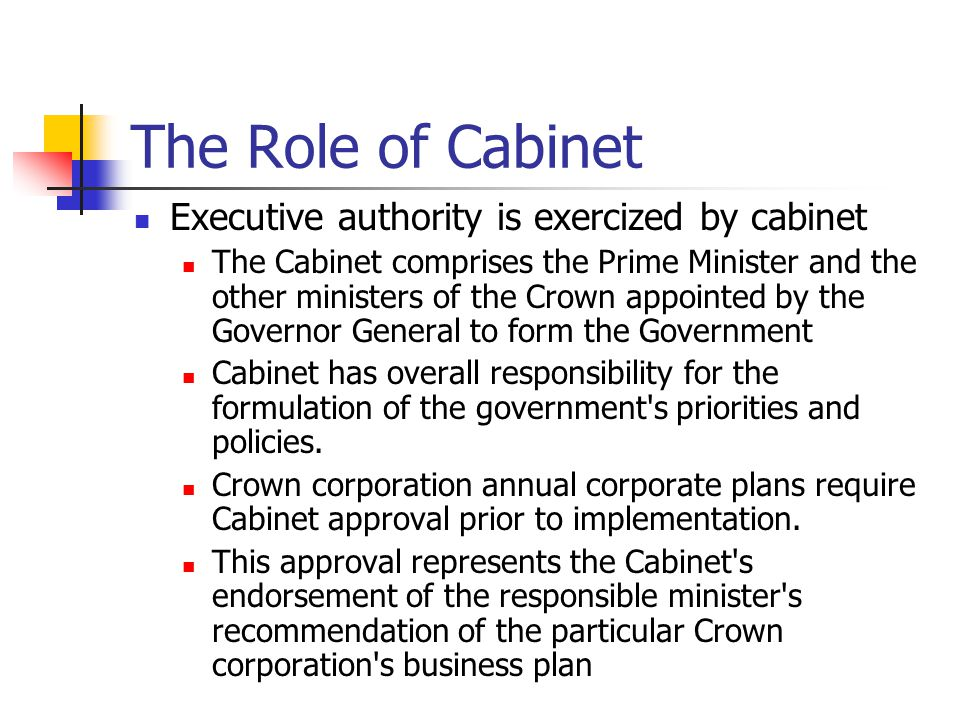 The Role of Cabinet Executive authority is exercized by cabinet