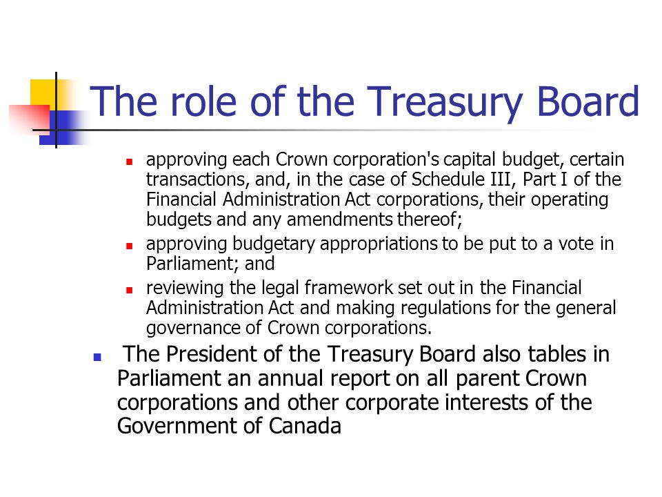 The role of the Treasury Board
