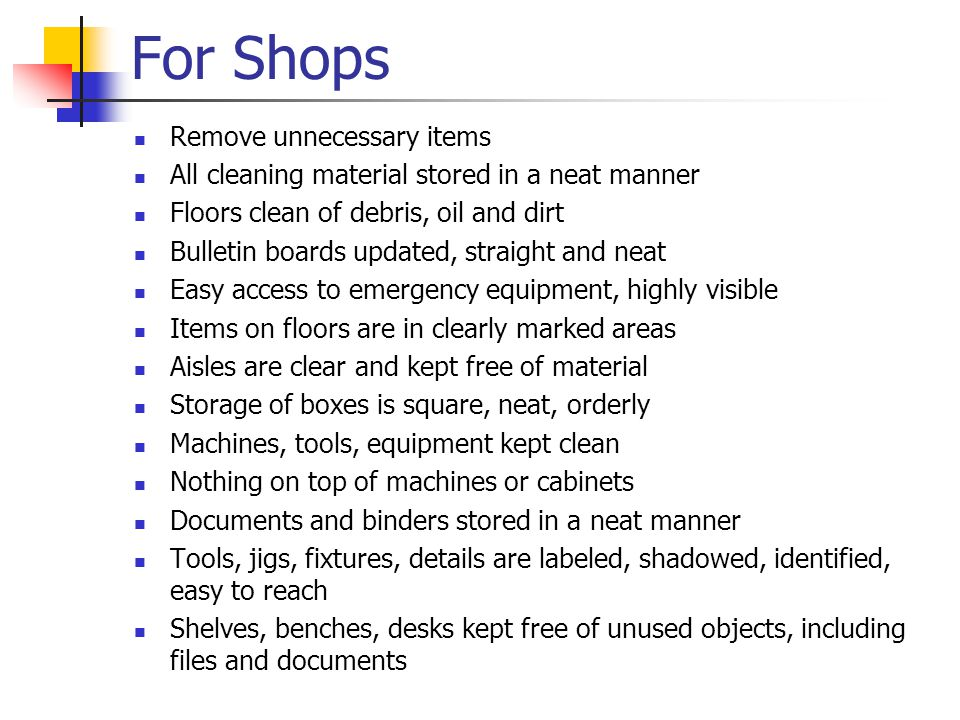 For Shops Remove unnecessary items