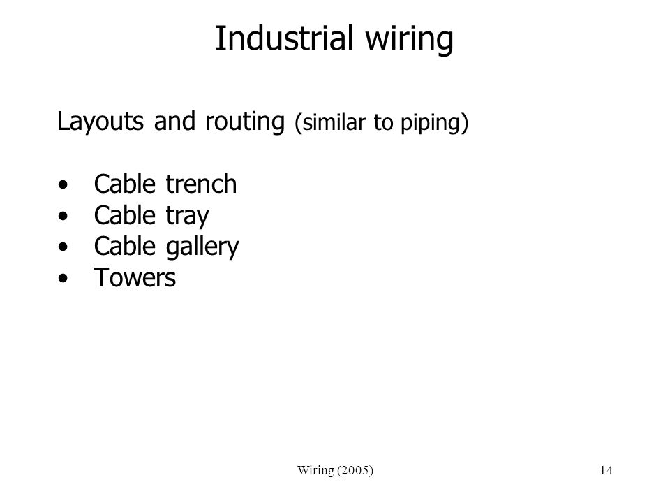Industrial wiring Layouts and routing (similar to piping) Cable trench