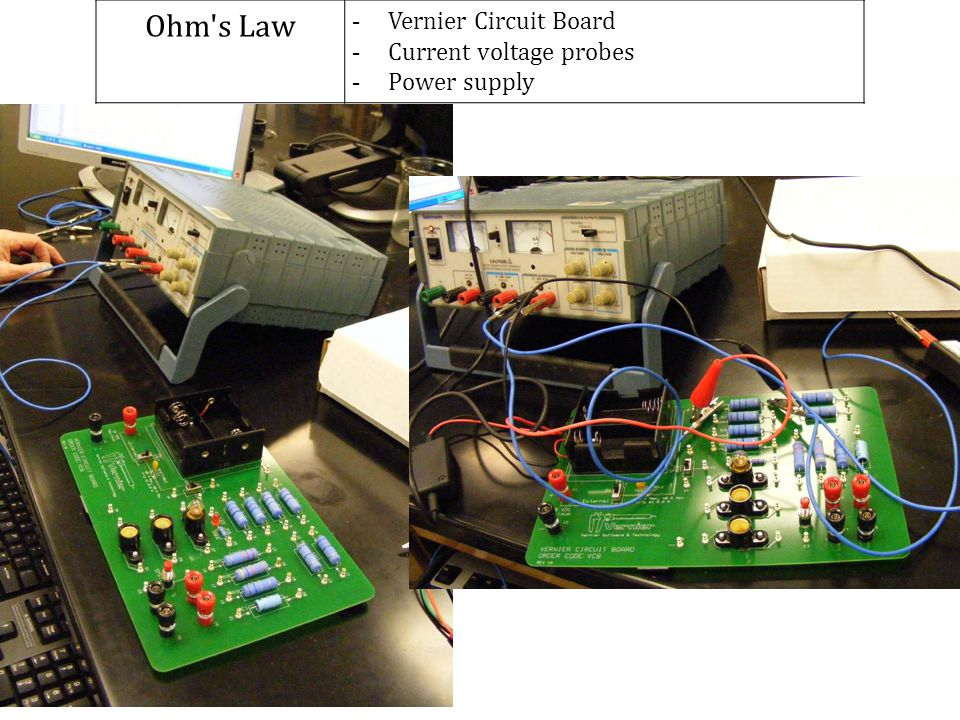 Ohm s Law Vernier Circuit Board Current voltage probes Power supply