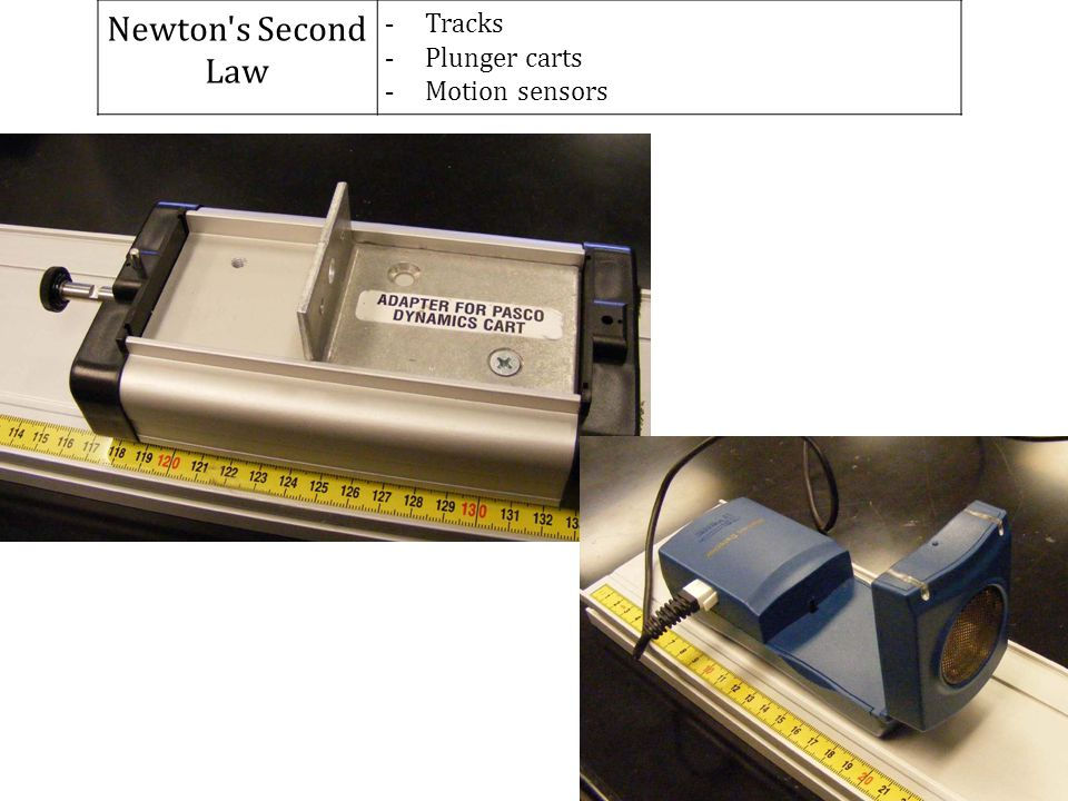 Newton s Second Law Tracks Plunger carts Motion sensors