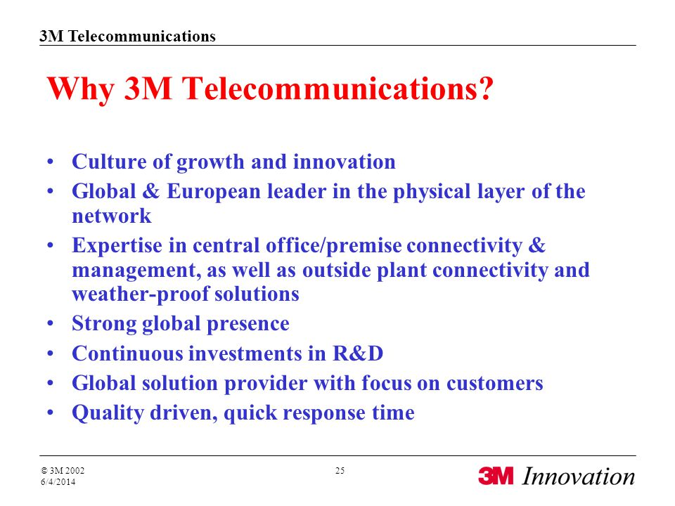 3M Telecommunications Solutions for Networks © 3M 2002 4/1/2017