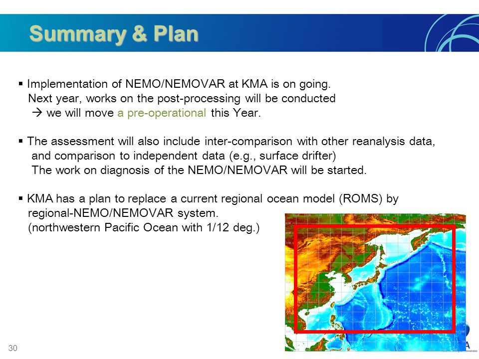 Summary & Plan Implementation of NEMO/NEMOVAR at KMA is on going.