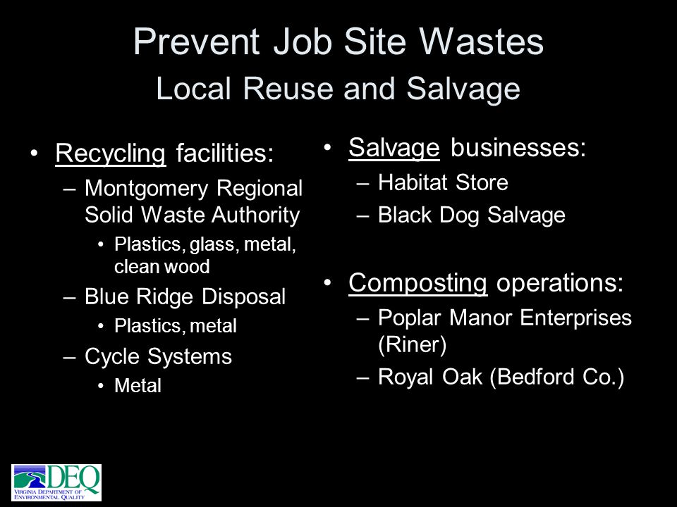 Prevent Job Site Wastes Local Reuse and Salvage