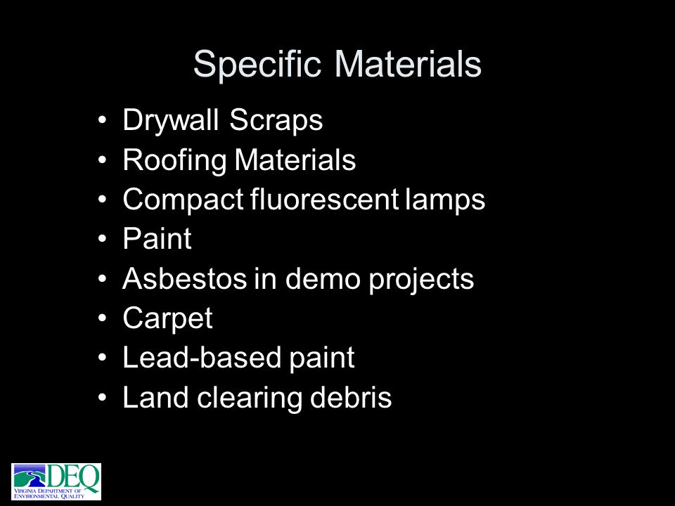 Specific Materials Drywall Scraps Roofing Materials