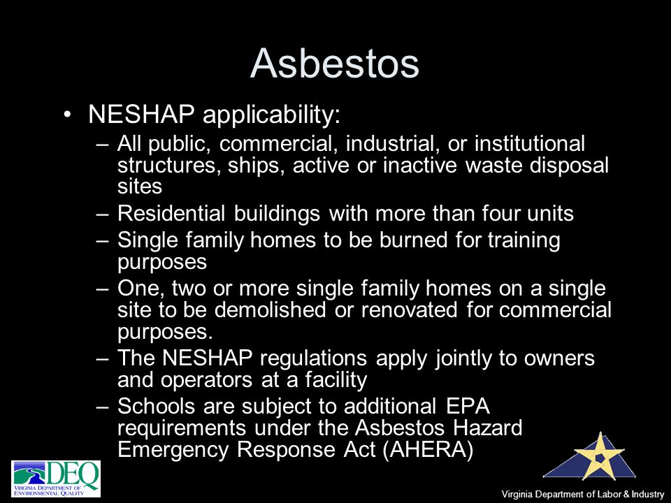 Asbestos NESHAP applicability: