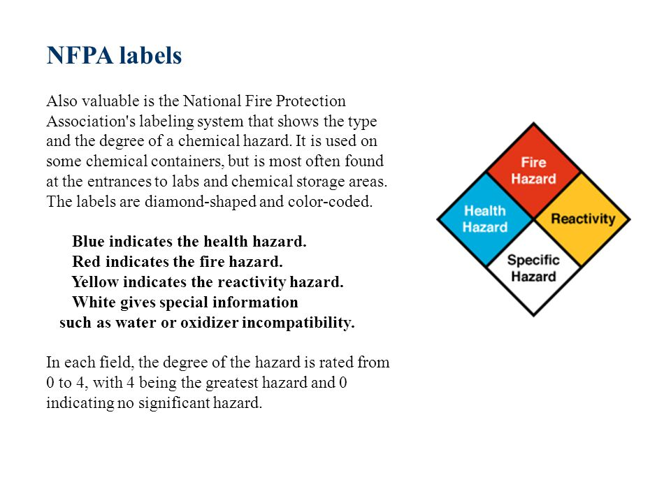 NFPA labels Also valuable is the National Fire Protection Association s labeling system that shows the type and the degree of a chemical hazard.