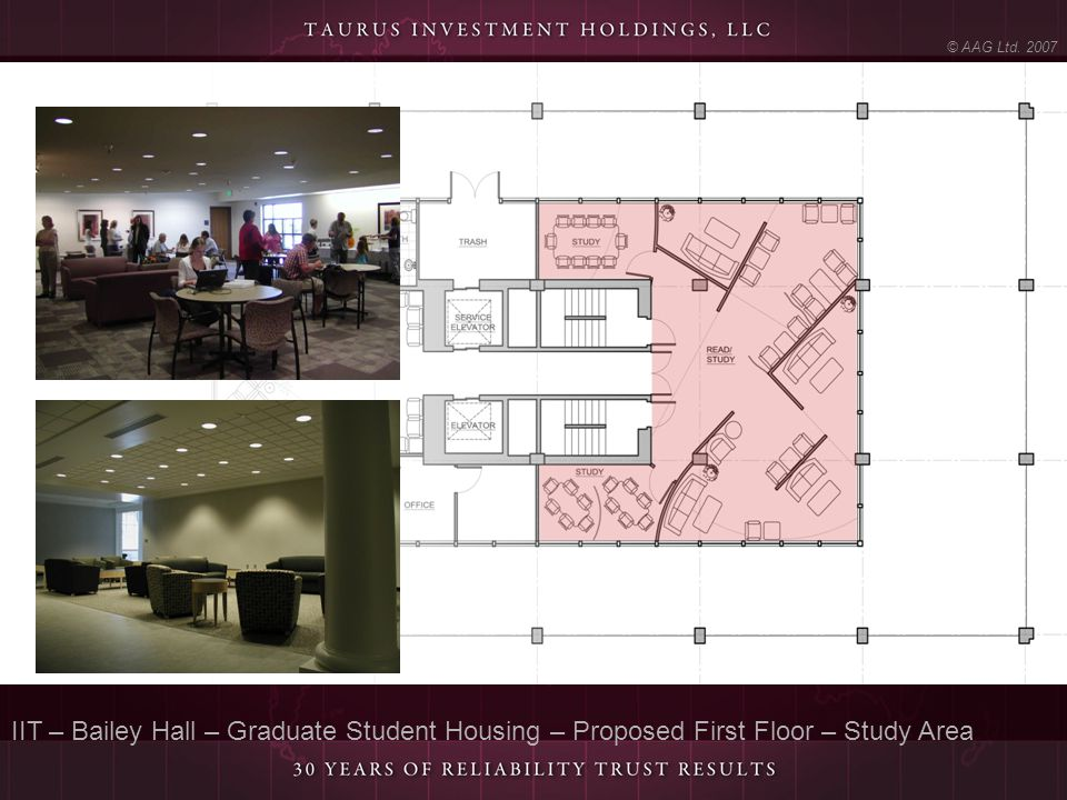 © AAG Ltd. 2007 IIT – Bailey Hall – Graduate Student Housing – Proposed First Floor – Study Area