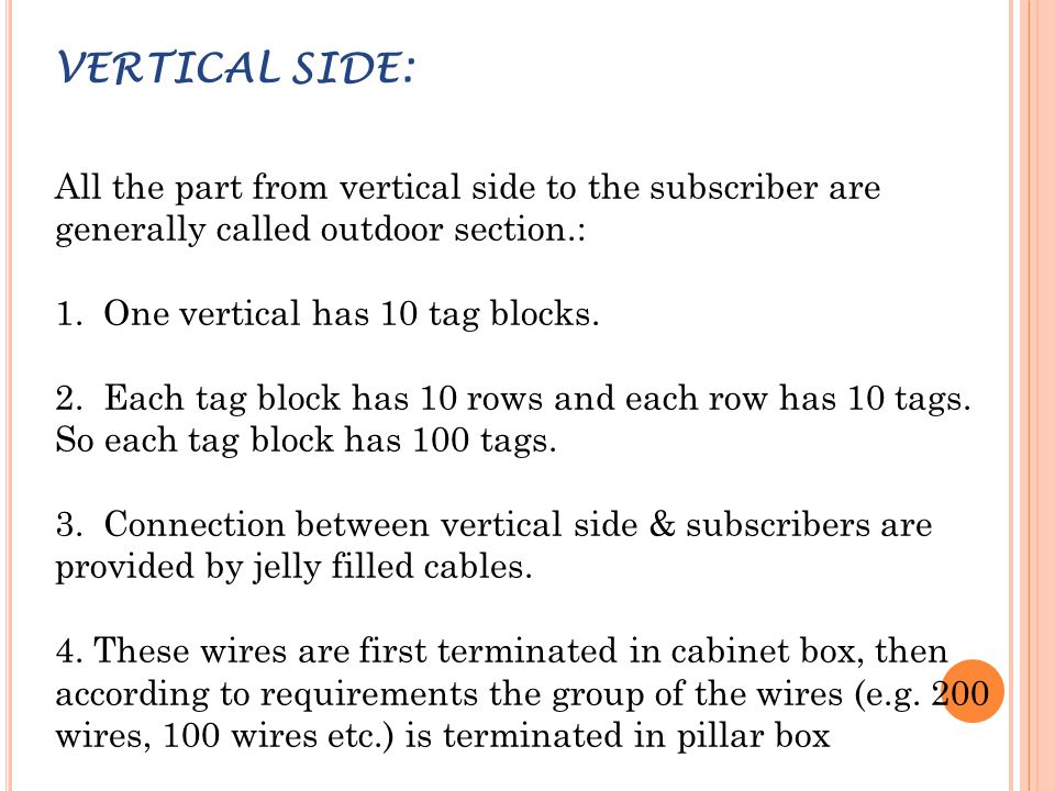 VERTICAL SIDE: All the part from vertical side to the subscriber are generally called outdoor section.: