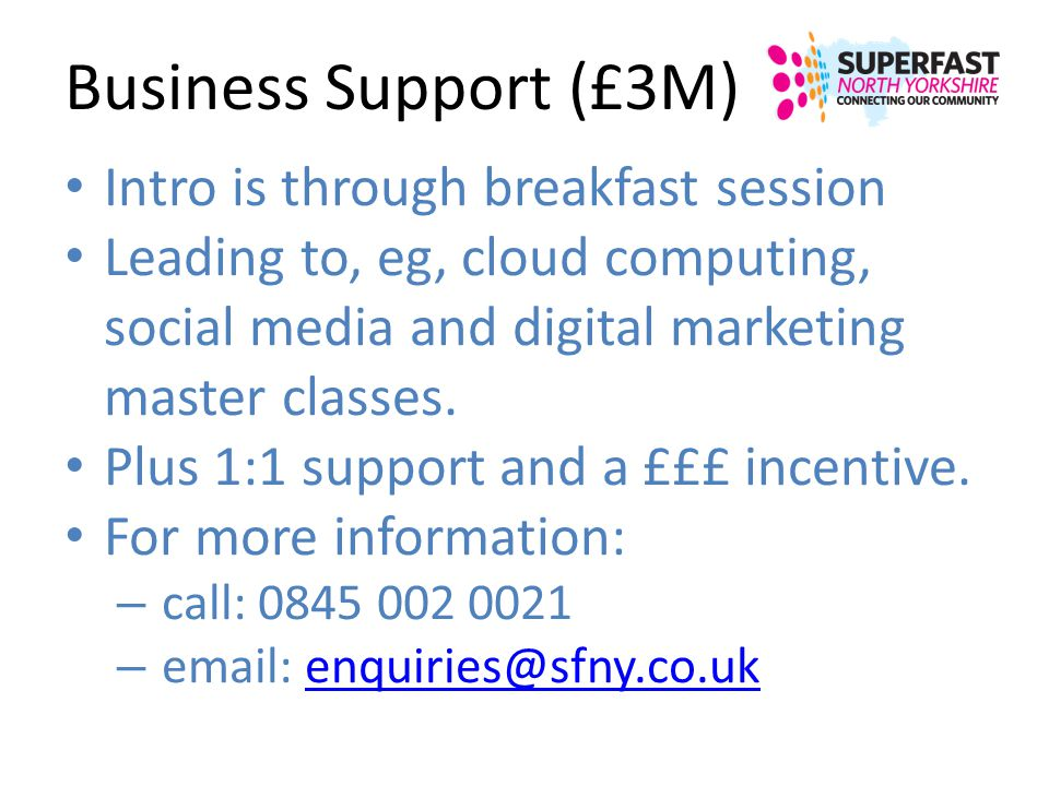 Business Support (£3M) Intro is through breakfast session