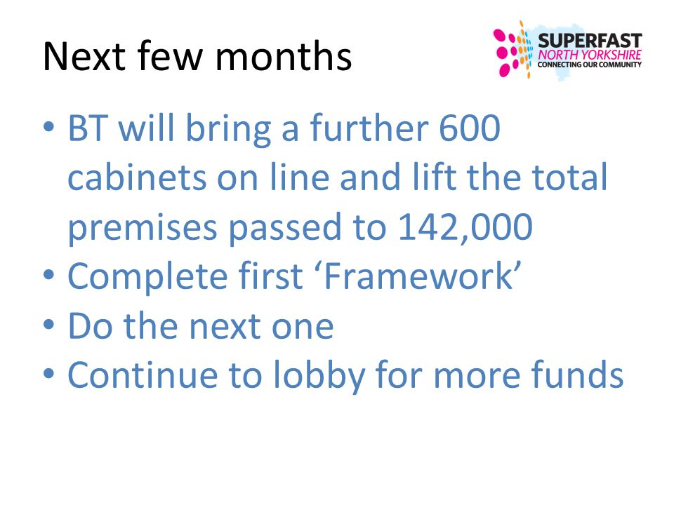Next few months BT will bring a further 600 cabinets on line and lift the total premises passed to 142,000.