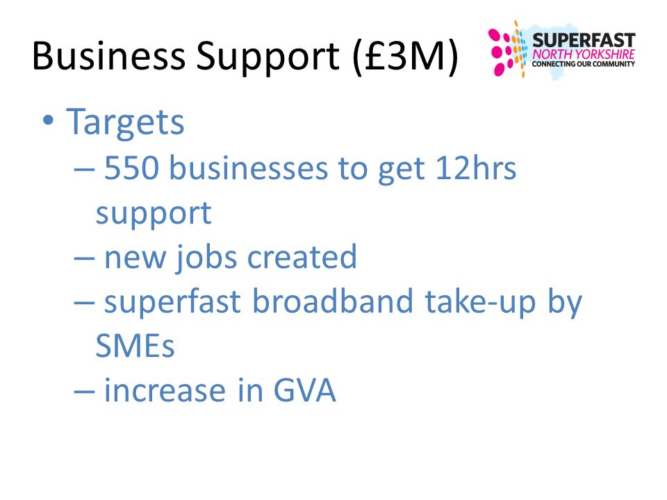 Business Support (£3M) Targets 550 businesses to get 12hrs support