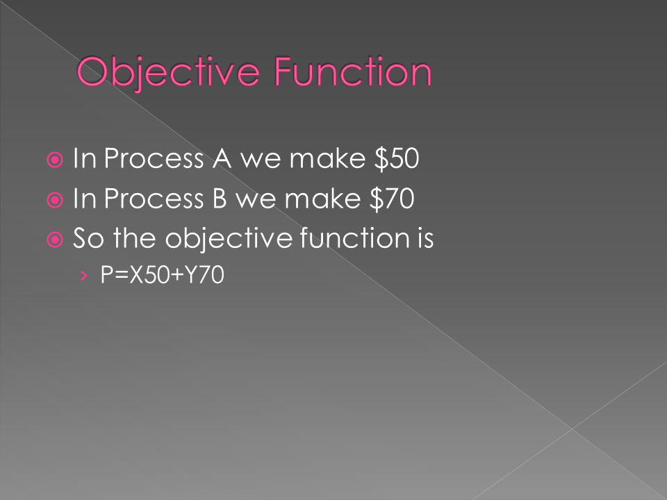 Objective Function In Process A we make $50 In Process B we make $70