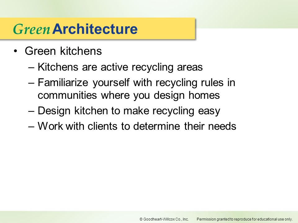 Green Architecture Green kitchens Kitchens are active recycling areas