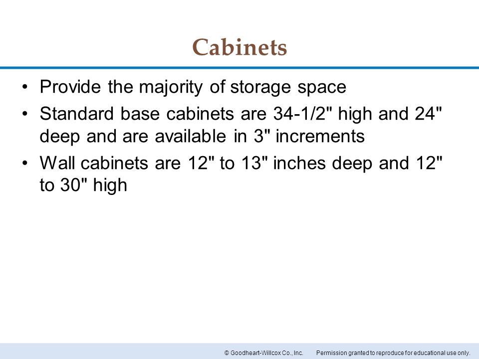 Cabinets Provide the majority of storage space