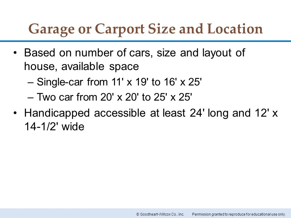 Garage or Carport Size and Location