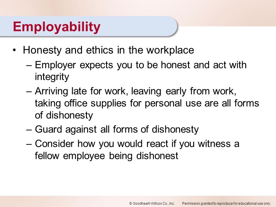 Employability Honesty and ethics in the workplace