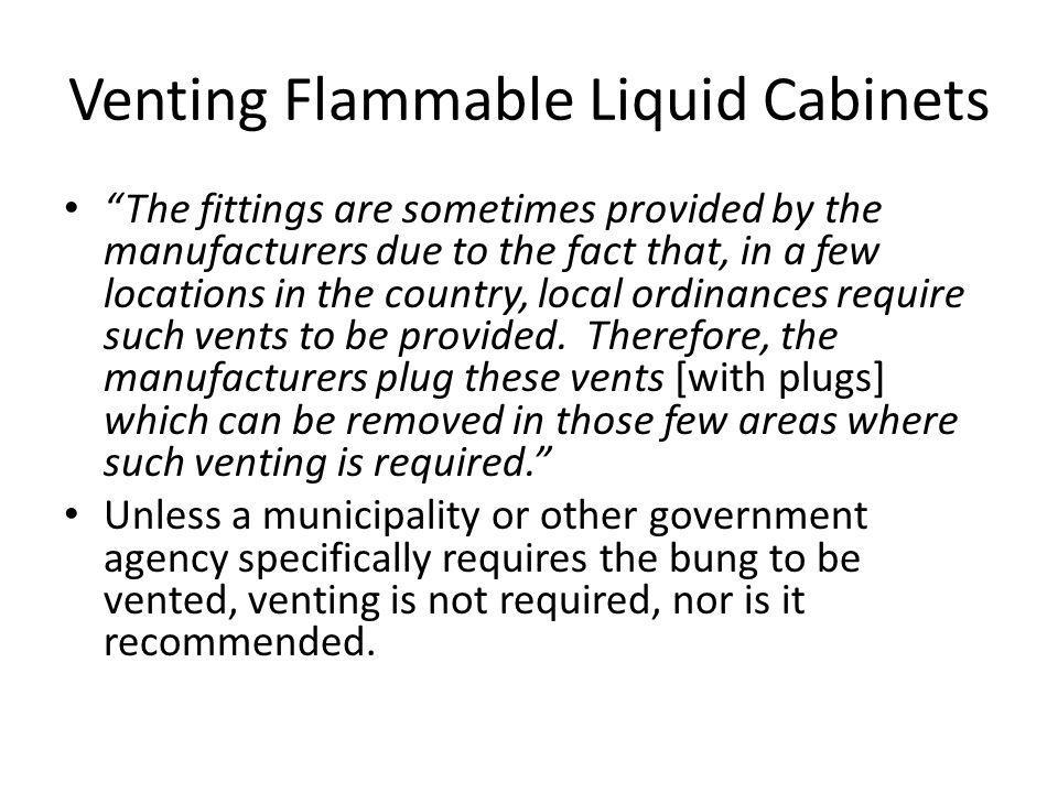 Venting Flammable Liquid Cabinets