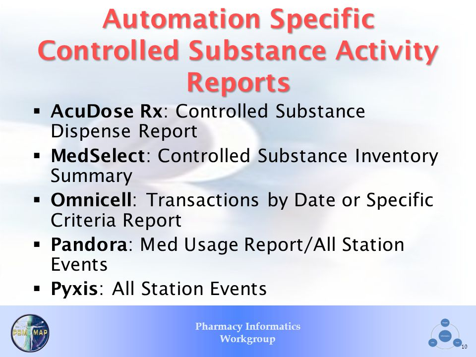 Automation Specific Controlled Substance Activity Reports