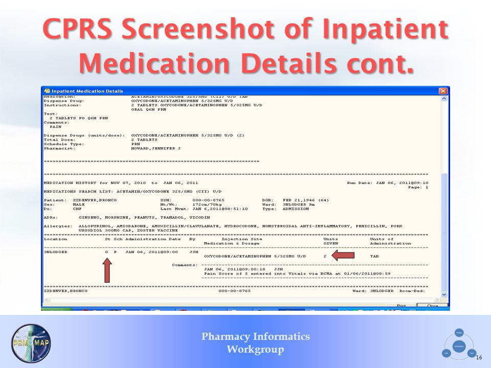 CPRS Screenshot of Inpatient Medication Details cont.