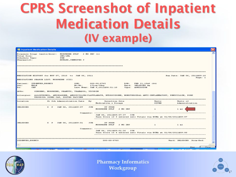 CPRS Screenshot of Inpatient Medication Details (IV example)