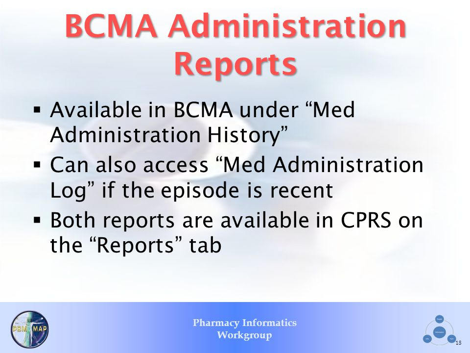 BCMA Administration Reports