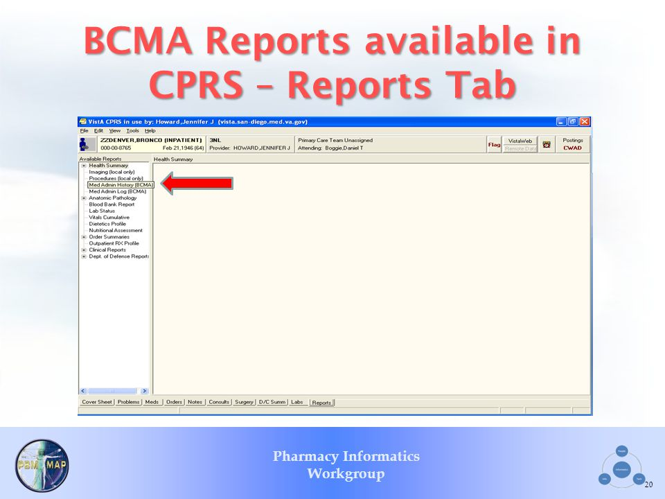 BCMA Reports available in CPRS – Reports Tab