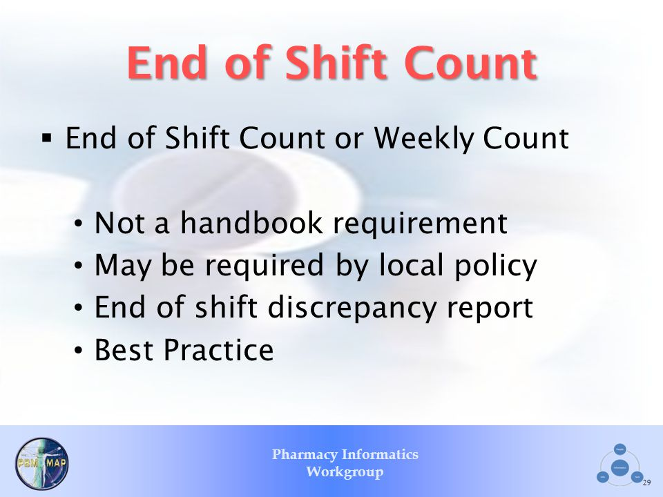 End of Shift Count End of Shift Count or Weekly Count