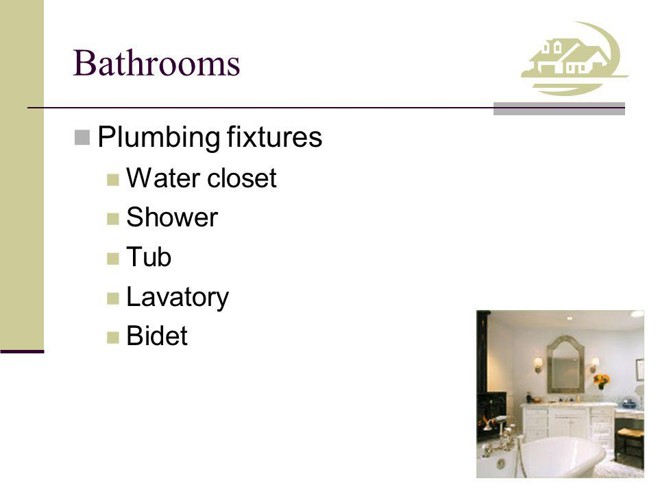 Bathrooms Plumbing fixtures Water closet Shower Tub Lavatory Bidet