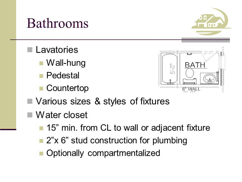 Bathrooms Lavatories Various sizes & styles of fixtures Water closet