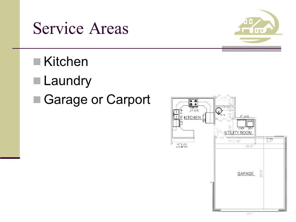 Service Areas Kitchen Laundry Garage or Carport