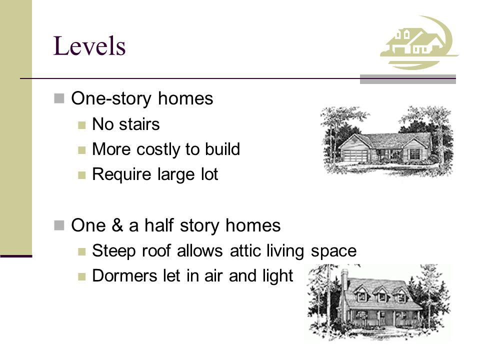 Levels One-story homes One & a half story homes No stairs