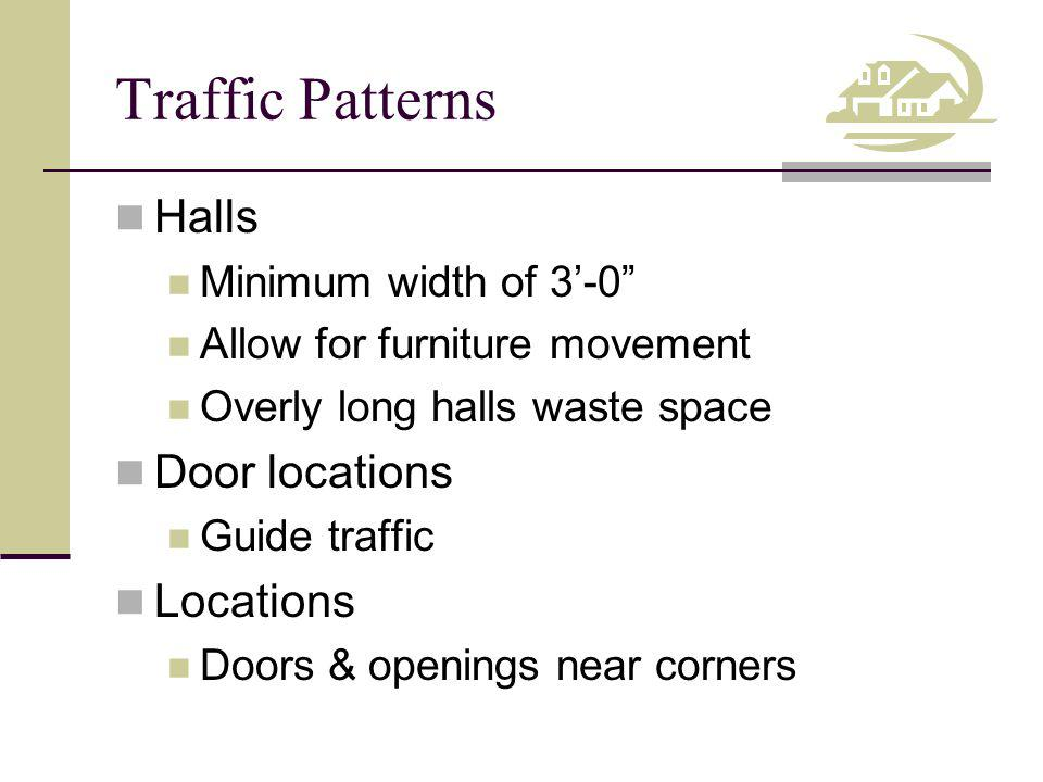 Traffic Patterns Halls Door locations Locations Minimum width of 3'-0