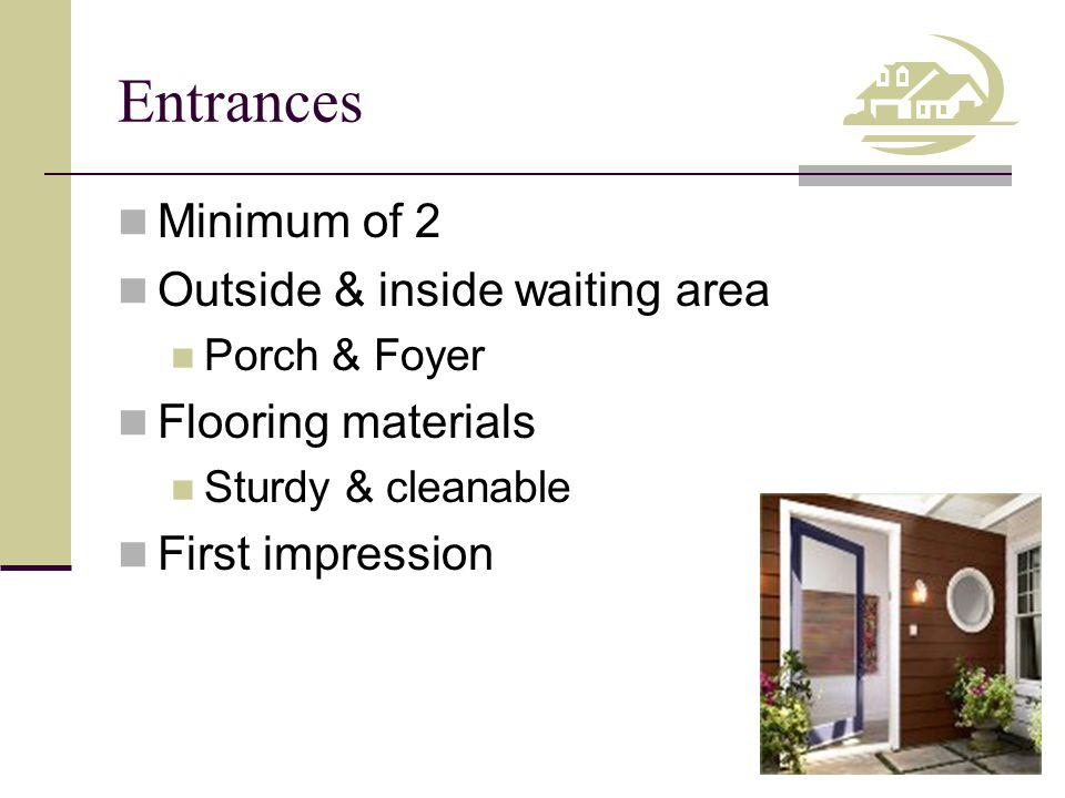 Entrances Minimum of 2 Outside & inside waiting area