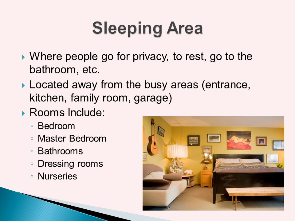 Sleeping Area Where people go for privacy, to rest, go to the bathroom, etc.