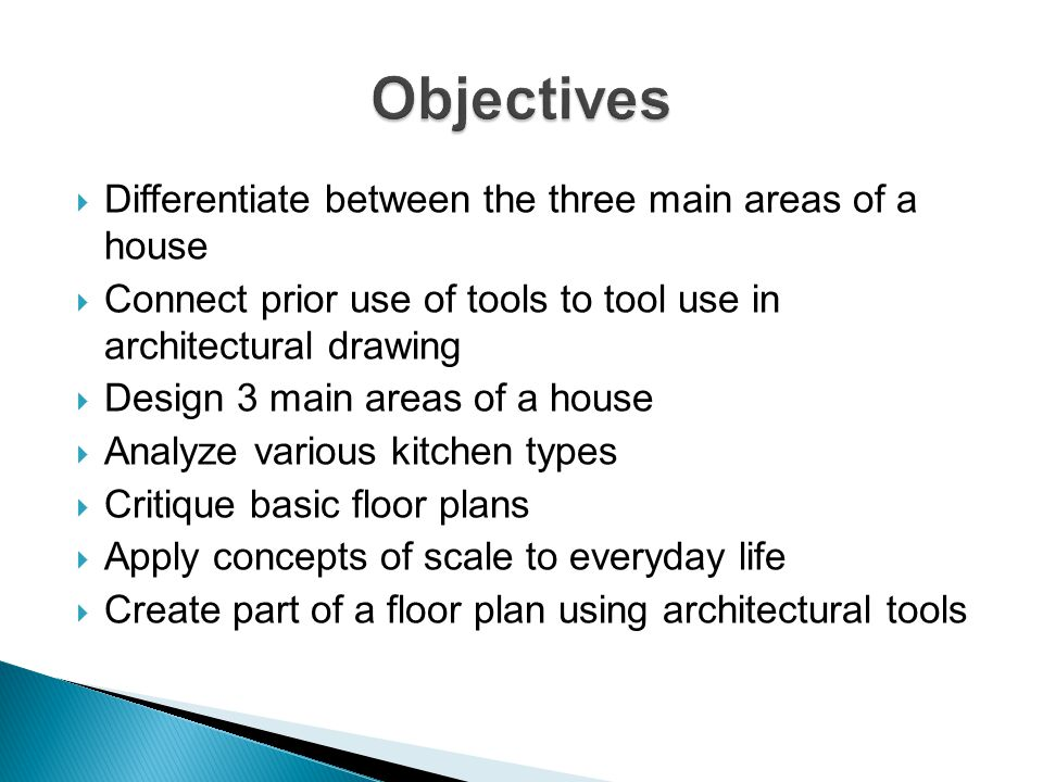 Objectives Differentiate between the three main areas of a house