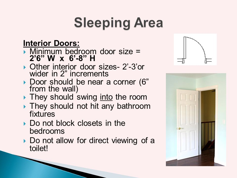 Sleeping Area Interior Doors:
