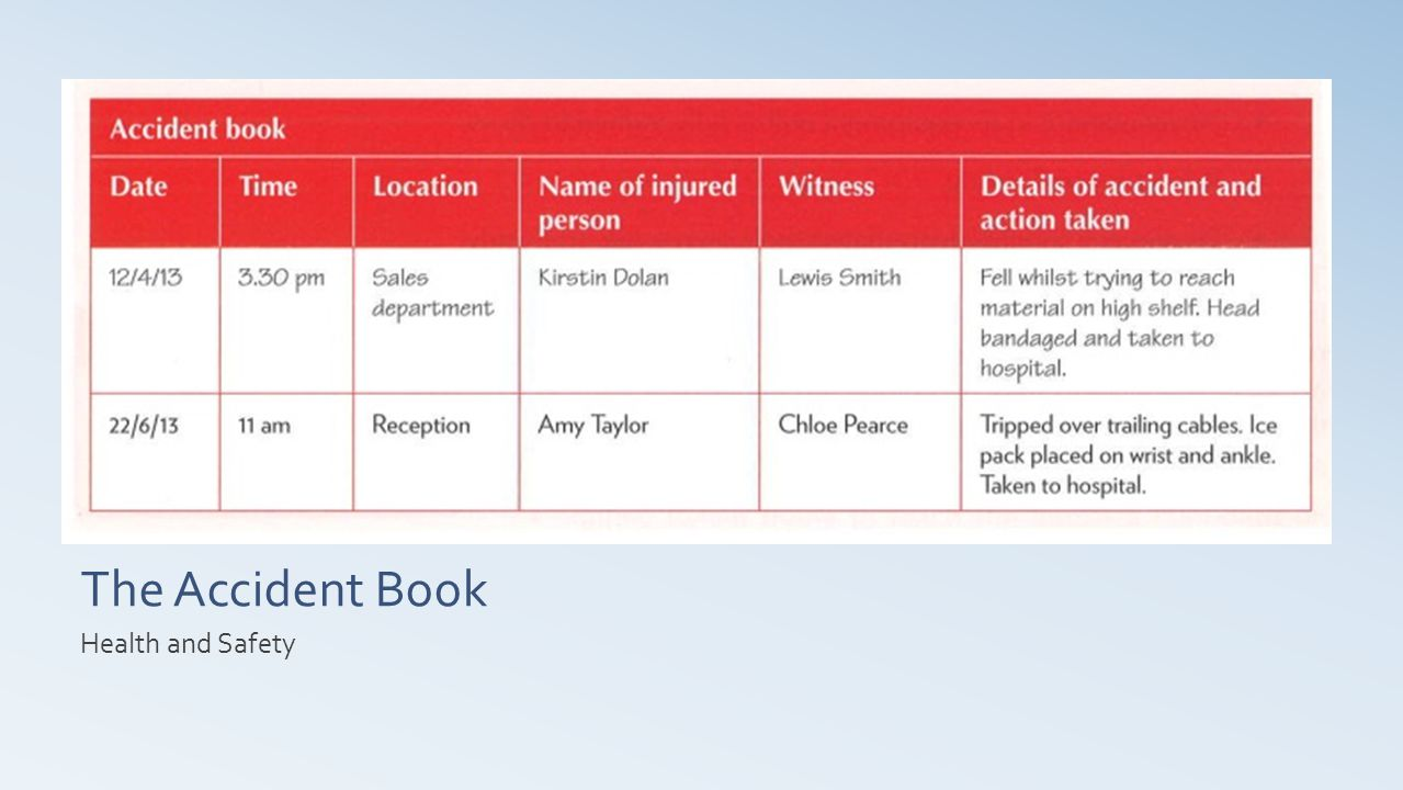 The Accident Book Health and Safety