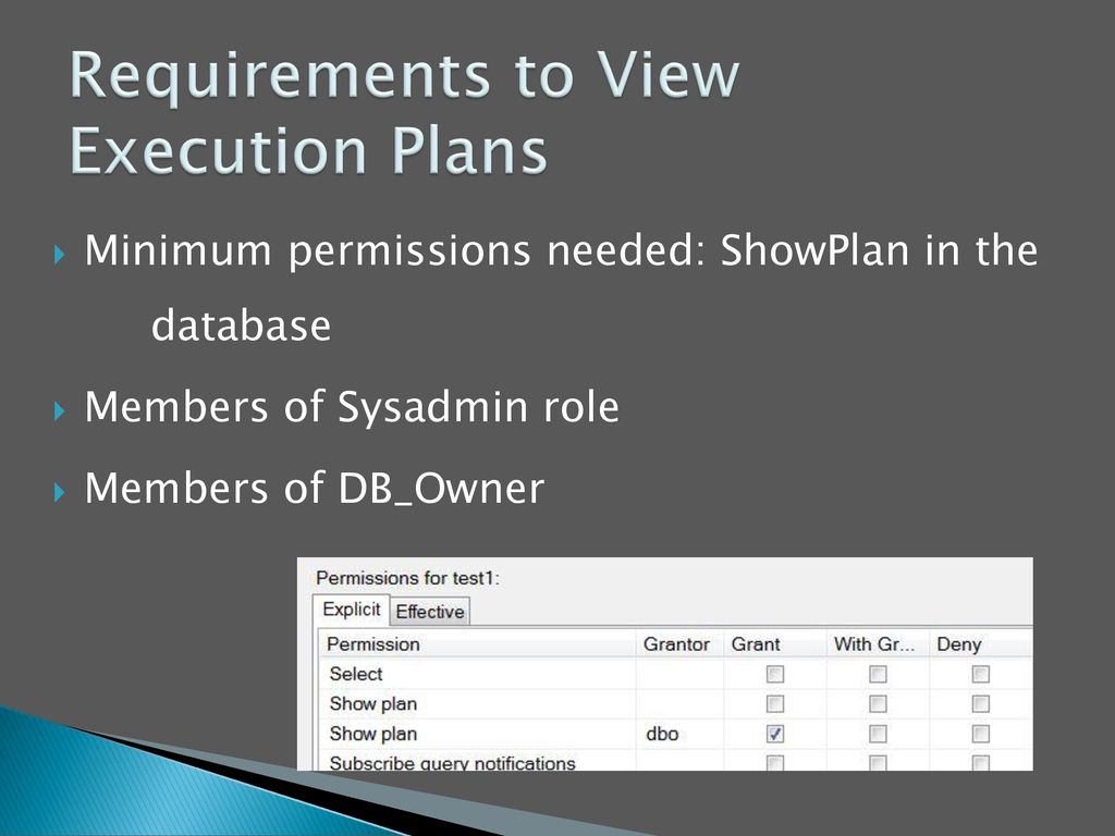 Requirements to View Execution Plans