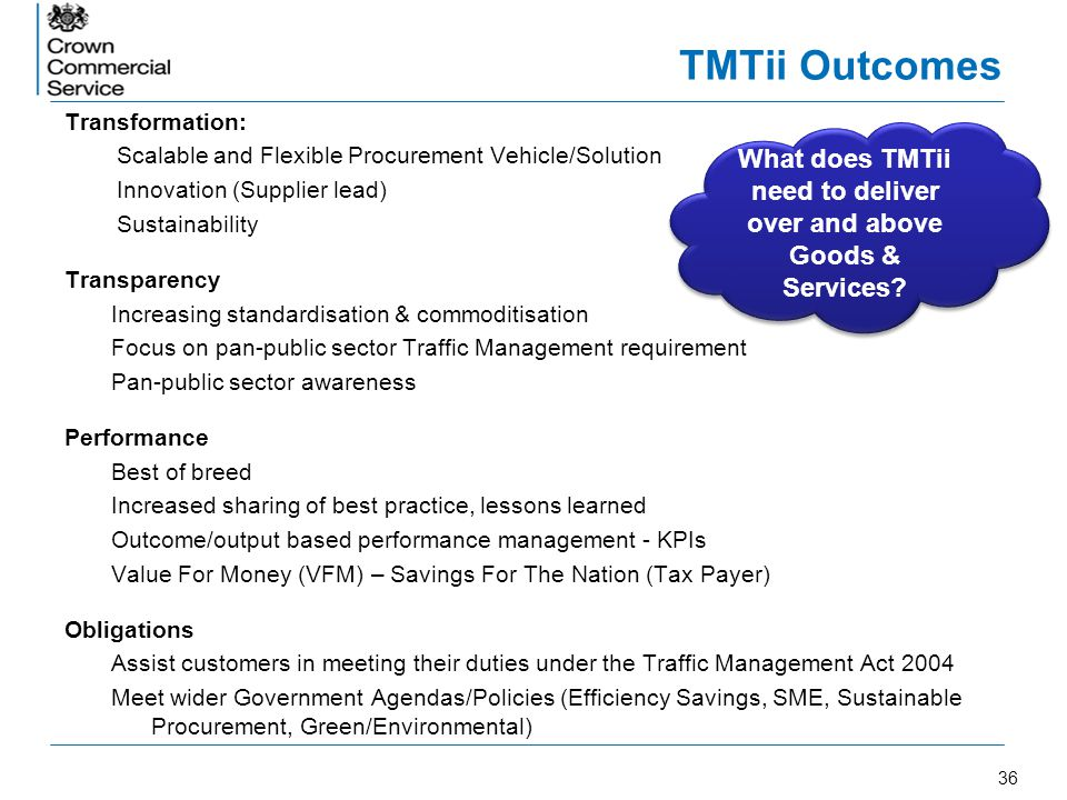 What does TMTii need to deliver over and above Goods & Services